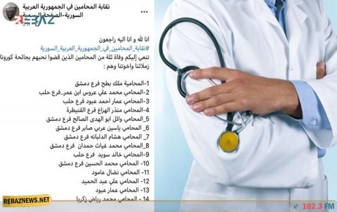 كورونا يُفقِد 42 طبيباً و محامياً سورياً حياتهم